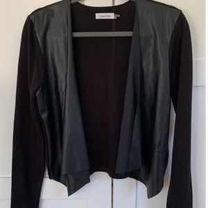 Calvin Klein Drape Sweater w/ Faux Leather Details